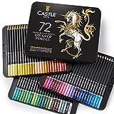 Castle Art Supplies juego de 72 lápices de colores para libros de colorear para adultos. Serie de calidad y con minas de colores vibrantes